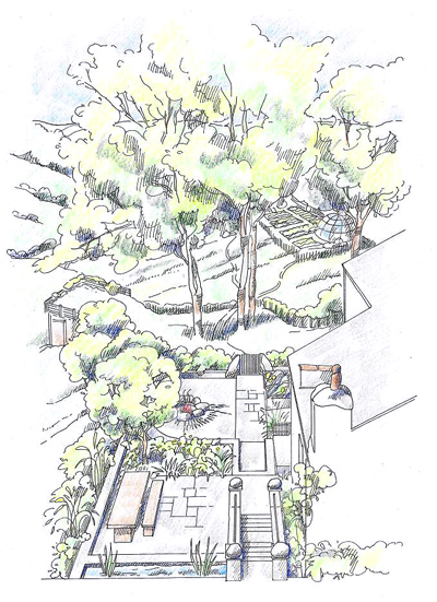 Artists impression of the creative transformation imagined by the garden designer